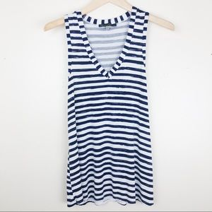Rose & Olive navy blue & white striped tank Small